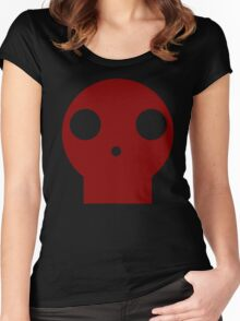 Red Skull Cartoon Women's Fitted Scoop T-Shirt