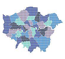 London Boroughs Map - Blue Photographic Print