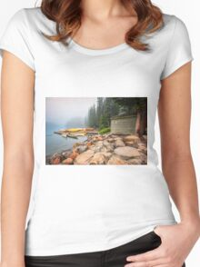 Moraine Lake and Boathouse Women's Fitted Scoop T-Shirt