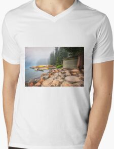 Moraine Lake and Boathouse Mens V-Neck T-Shirt