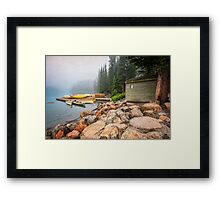 Moraine Lake and Boathouse Framed Print