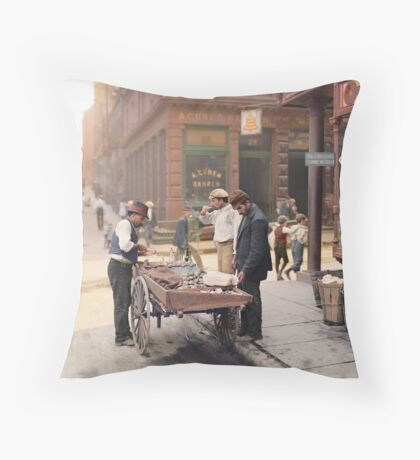 Clam seller on Mulberry Bend, New York, ca 1900 Throw Pillow