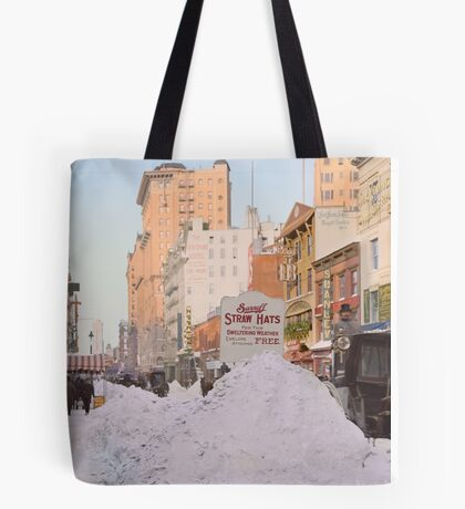 Piles of snow on Broadway, after storm, New York, ca 1905 Colorized Tote Bag