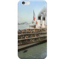 Sidewheeler Tashmoo leaving wharf in Detroit, ca 1901 Colorized iPhone Case/Skin