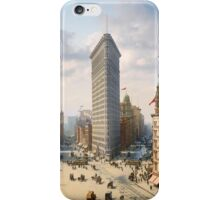 Flat Iron in New York City, ca 1903 colorized iPhone Case/Skin