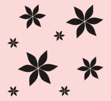 Black and White Flower Print Original Kids Tee