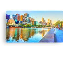 Melbourne Skyline Yarra Reflections from Southbank Metal Print