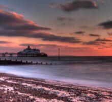 Winter morning sunrise over Eastbourne Pier Sticker