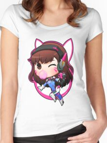 Overwatch D.Va Chibi Women's Fitted Scoop T-Shirt