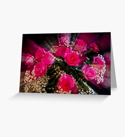 Pink Roses Bouquet Explosion Greeting Card