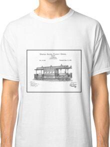 TRAIN LOCOMOTIVE; Vintage Streetcar Patent Print Classic T-Shirt