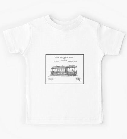 TRAIN LOCOMOTIVE; Vintage Streetcar Patent Print Kids Tee