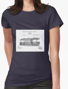 TRAIN LOCOMOTIVE; Vintage Streetcar Patent Print Womens Fitted T-Shirt
