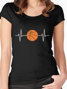 Heartbeat Basketball  Women's Fitted Scoop T-Shirt
