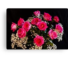 Pink Roses With All My Love Canvas Print
