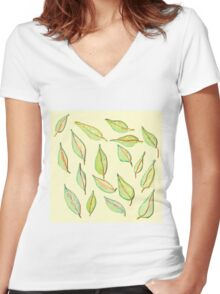 Leaves in the Wind Women's Fitted V-Neck T-Shirt