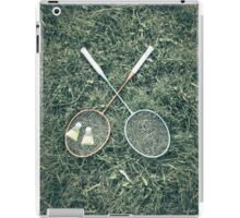 Badminton Racket And Shuttlecock Equipment In Grass iPad Case/Skin