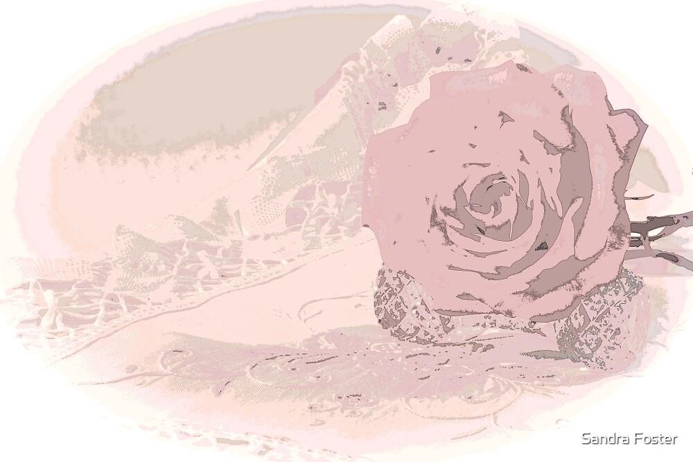Pink Rose And Linen - Digital Art Work by Sandra Foster