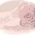 Pink Rose And Linen - Posterized  by Sandra Foster