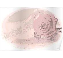 Pink Rose And Linen - Digital Art Work Poster