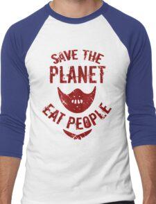 save the planet, EAT POEPLE #2 Men's Baseball ¾ T-Shirt