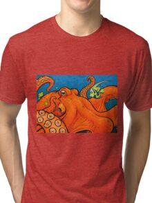 An Enormous Orange Octopus Tri-blend T-Shirt