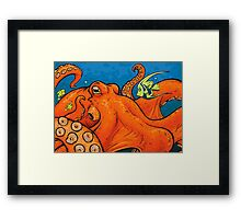 An Enormous Orange Octopus Framed Print