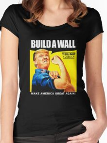 Donald Trump Rosie The Riveter 2016 Build A Wall T-Shirt Women's Fitted Scoop T-Shirt
