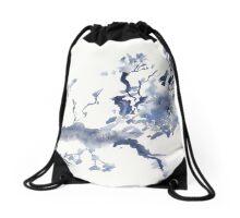 Paynes Grey Branch - Watercolor Drawstring Bag