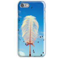 white feather and birds flying iPhone Case/Skin
