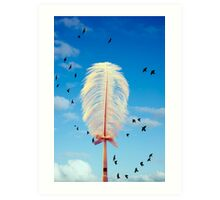 white feather and birds flying Art Print