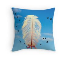 white feather and birds flying Throw Pillow