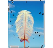 white feather and birds flying iPad Case/Skin