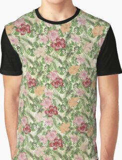 Tropical Leaves and Hibiscus Pattern Graphic T-Shirt