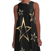 Golden Stars Print on Black A-Line Dress