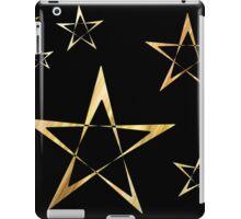 Golden Stars Print on Black iPad Case/Skin