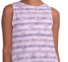 Pink and Purple Watercolor Tie Dye Stripes Contrast Tank