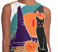 Witch Cat Pumpkin Woodcut Halloween Design with Candy Corn Stripes Contrast Tank