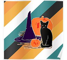Witch Cat Pumpkin Woodcut Halloween Design with Candy Corn Stripes Poster