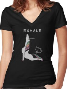 Unicorn - Exhale Women's Fitted V-Neck T-Shirt
