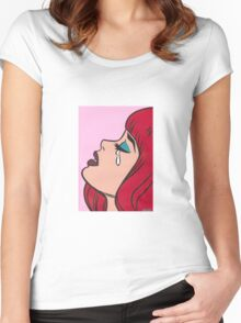 Red Bangs Crying Comic Girl Women's Fitted Scoop T-Shirt
