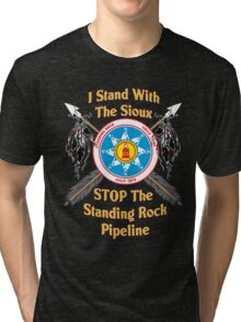 Standing Rock Crossed Arrows - Stop The Pipeline Tri-blend T-Shirt