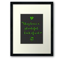 """""""Thou art a general offence"""" Shakespeare insult (green) Framed Print"""