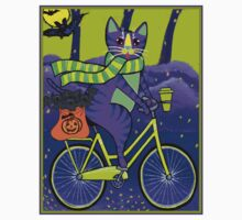 HALLOWEEN CAT; Bicycle Abstract Whimsical Print Kids Tee