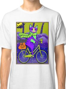 HALLOWEEN CAT; Bicycle Abstract Whimsical Print Classic T-Shirt