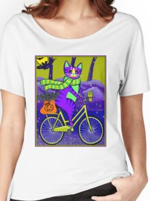 HALLOWEEN CAT; Bicycle Abstract Whimsical Print Women's Relaxed Fit T-Shirt
