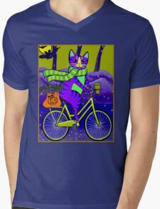 HALLOWEEN CAT; Bicycle Abstract Whimsical Print Mens V-Neck T-Shirt