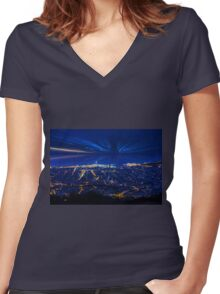 Sunrise over Barcelona, Spain  Women's Fitted V-Neck T-Shirt