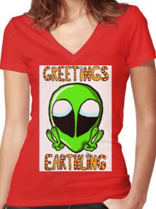 Greetings Earthlings w/o background Women's Fitted V-Neck T-Shirt