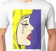 Blonde Bangs Crying Comic Girl Unisex T-Shirt